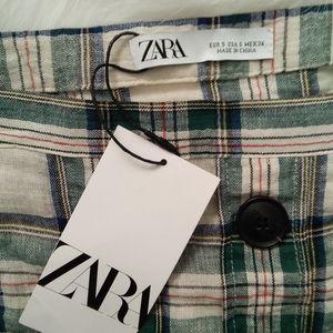 ZARA Plaid Buttondown Skirt